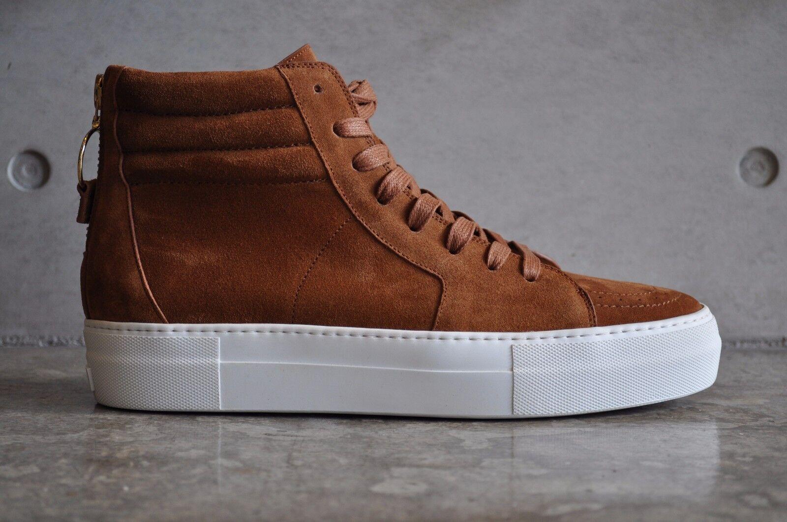 Buscemi 140mm Sk8 Skate High Tan Top Sneaker - Marrón Tan High Calf Suede Leather 25399c