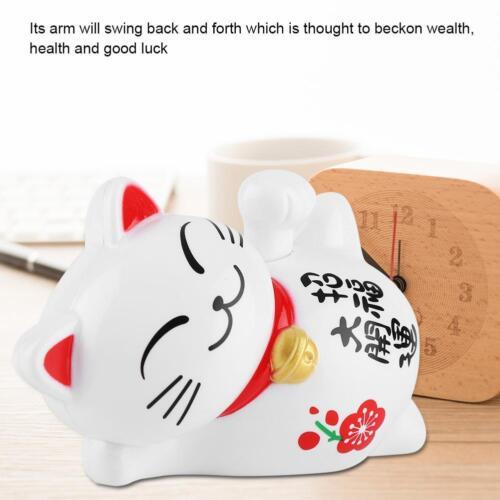 Solar Powered Maneki Neko Waving Hand Lucky Beckoning Fortune Cat Home Car Decor
