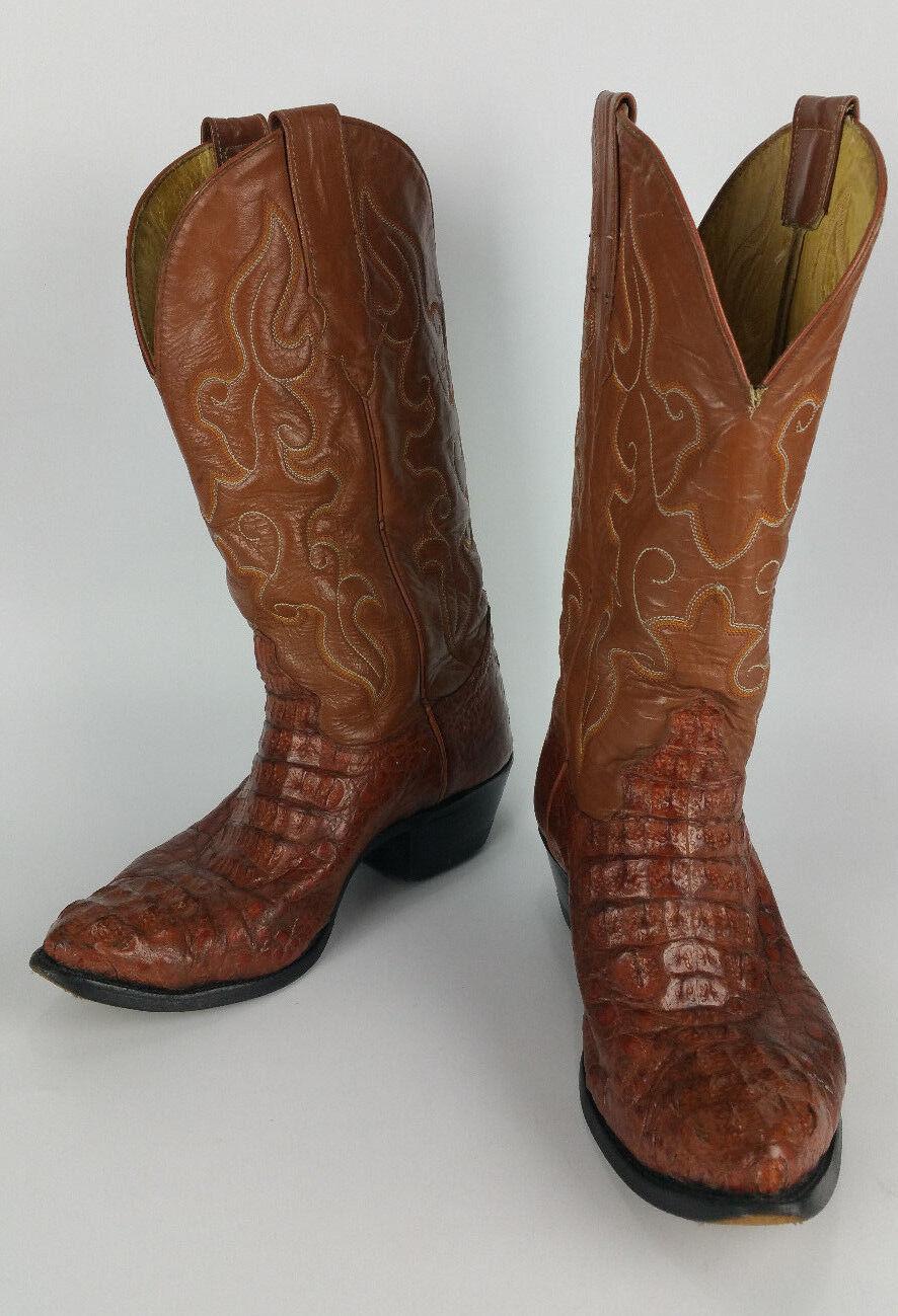 Rucci Milano botas de piel de cocodrilo Western Cowboy botas Hombres 7.5 Extra Ancho Ancho Marrón