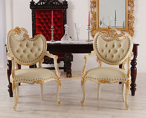 Esszimmerstuhl Kolonialstil Mahagoni Luxus Stuhl Leder Barock Rokoko