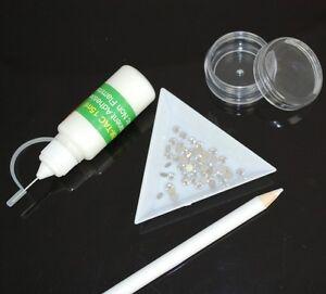 CLEAR-Crystal-BLING-KIT-Swarovski-Crystals-Gem-Tac-Needle-Tip-Glue-pencil