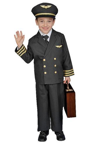 KIDS CHILDRENS BOYS CHILDS DELUXE AIRLINE PILOT BOY UNIFORM COSTUME AGE 4-14