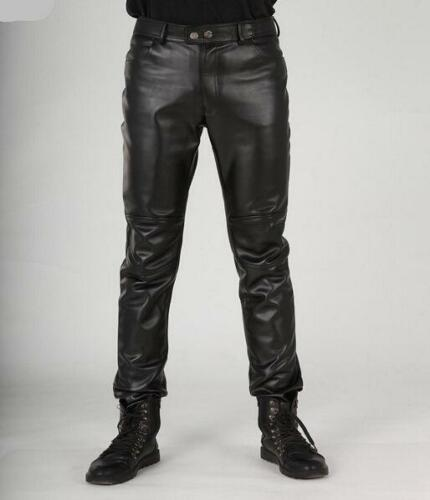New Mens Fashion Faux Leather Pants Black Motorcycle Slim Fit Trousers Boot Cut