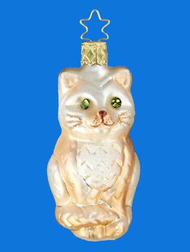 INGE GLAS KASIMIR CAT KITTEN GERMAN BLOWN GLASS CHRISTMAS TREE ORNAMENT TAN WHIT