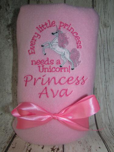 PERSONALISED BABY BLANKET UNICORN DESIGN PRINCESS BABY GIRL GIFT NEWBORN