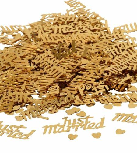 Herz 0,5cm Schrift 3,7x1,5cm gold 14g Streudeko Just Married ca 700 St