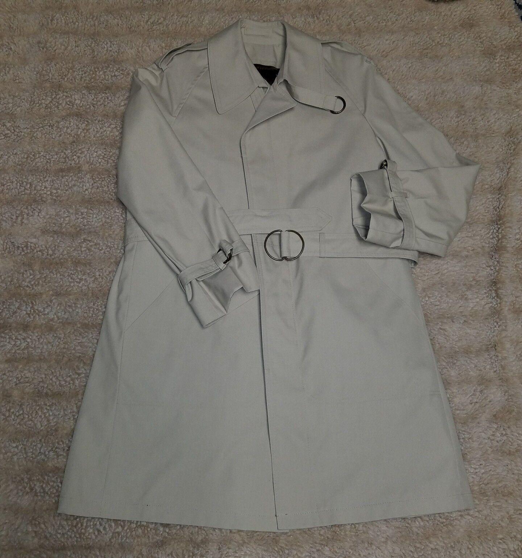 JOHN WEITZ By Casualcraft  Herren Butler Trench 40R Tan Khaki Zip Liner Coat Belts
