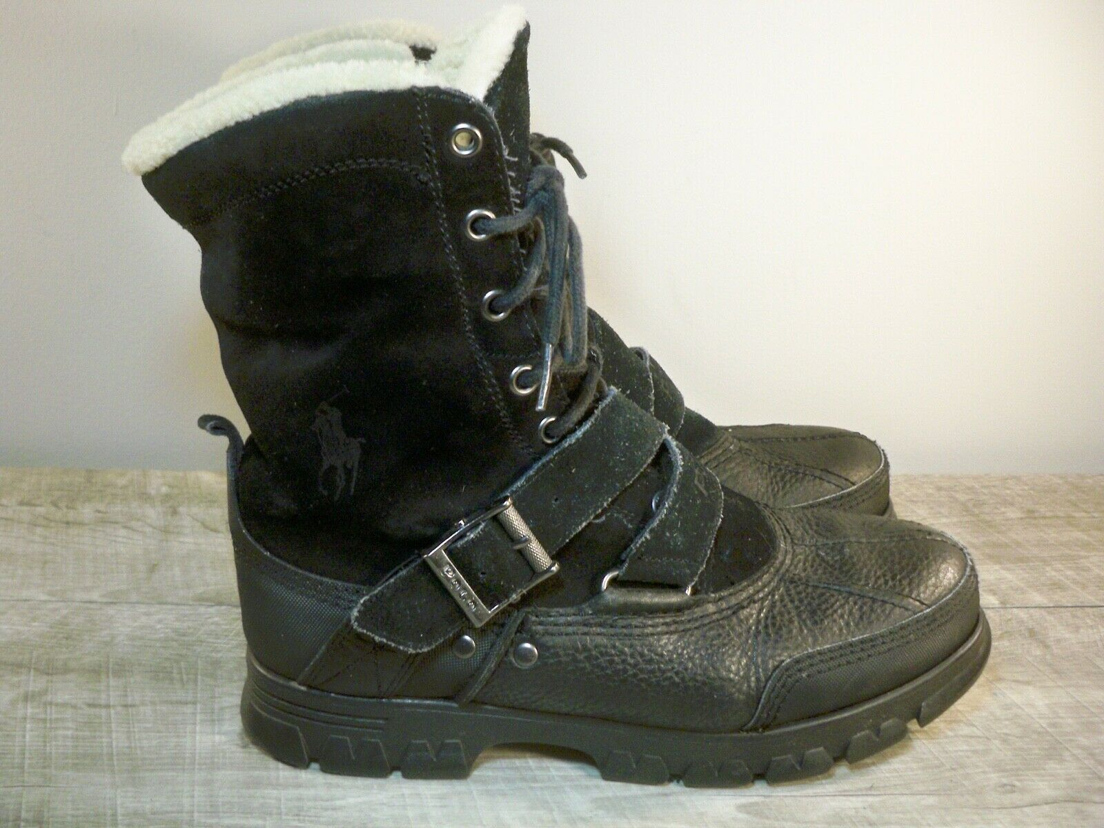 Polo Ralph Lauren Tavin Harness Motorcycle Leather & Shearling Men's Boots Sz 9