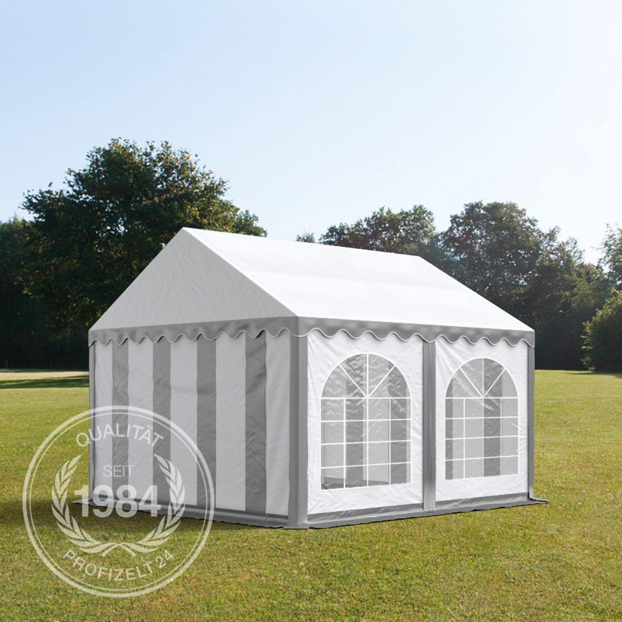 Partyzelt 4x4m Festzelt Gartenzelt Pavillon Pavillon Pavillon Bierzelt wasserdicht PVC grau-weiß | Passend In Der Farbe  | Haltbar  | Verkauf Online-Shop  bea618