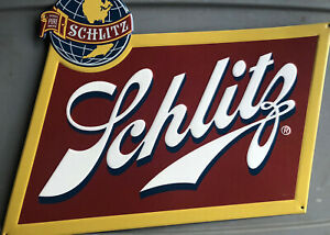 Schlitz-Brewing-Tin-Tacker-Beer-Sign-Man-Cave-Malt-Liquor