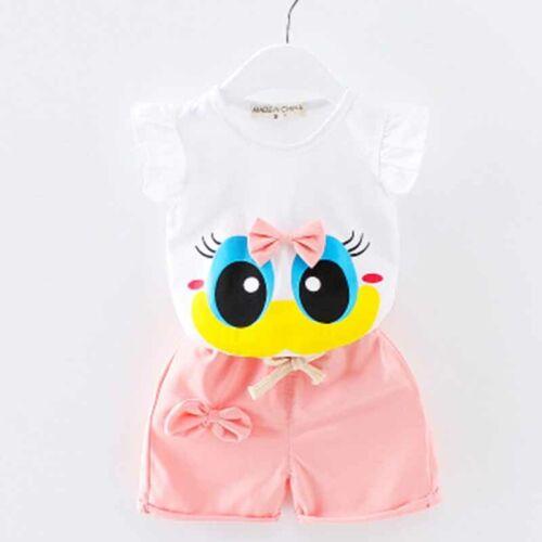 Short Pants Set Outfits Cotton Baby Girls Cute Cartoon Clothes Summer Top Vest