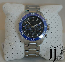 New Michael Kors WINDWARD BLACK DIAL NAVY SILVER CHRONOGRAPH MEN'S WATCH MK8422