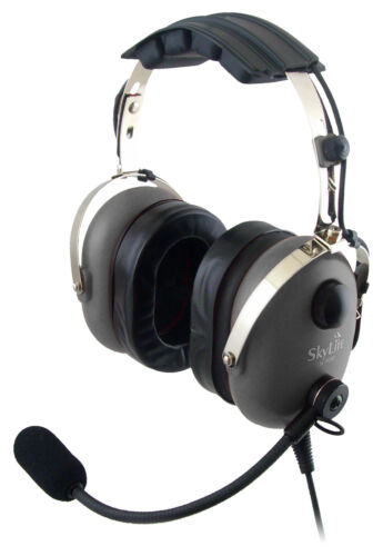 SL-900M Grey SkyLite Aviation Pilot GA Headset with mp3 input Dual Plug Free Bag
