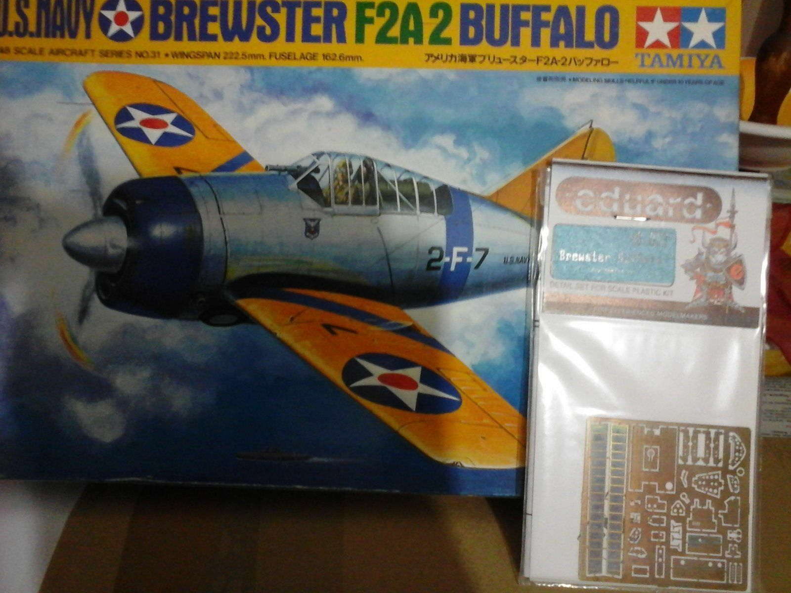 BREWSTER F2A2 BUFFALO US NAVY 1 48 SCALE TAMIYA MODEL+PHOTOETCHED PARTS