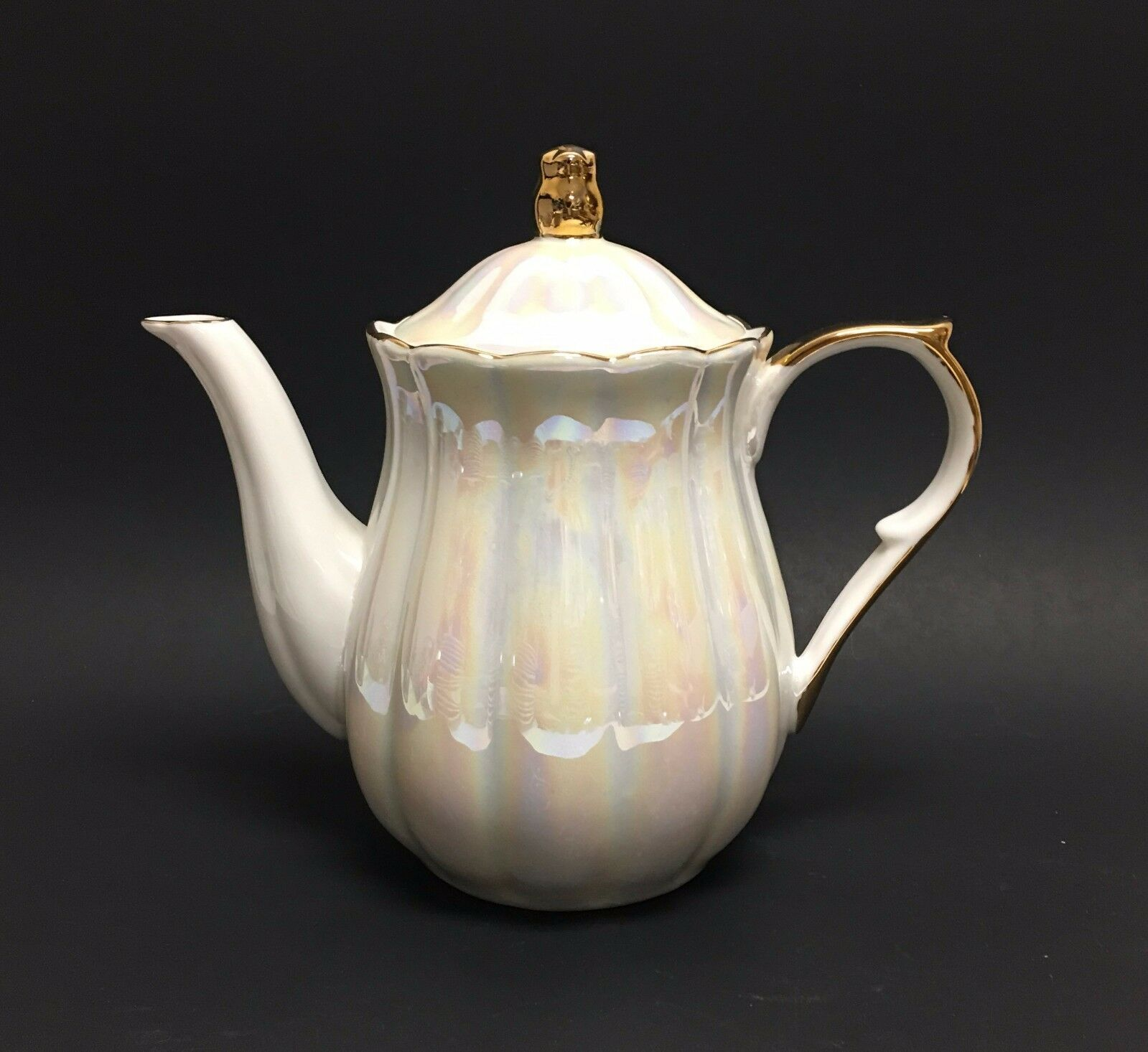 GRACE'S TEAWARE PEARL WHITE+IRIDESCENT PORCELAIN+gold TRIM TEA+COFFEE POT,TEAPOT