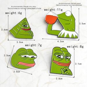 4Pcs-Pack-Smug-Pepe-The-Frog-Meme-Enamel-Lapel-Pin-Badge-Brooch-Gift