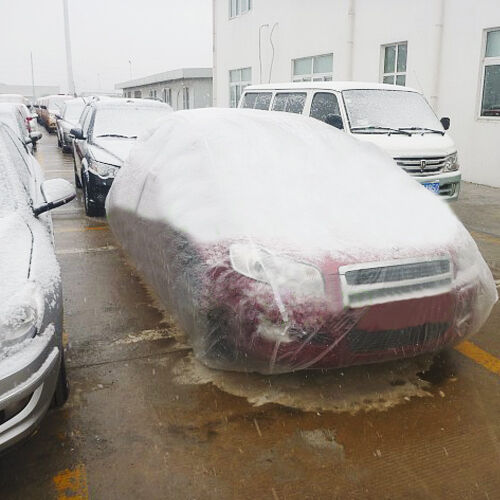Clear Plastic Temporary Universal Disposable Car Cover Rain Dust Garage Cover