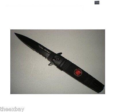 Black U.S. MARINES STILETTO SPRING ASSIST POCKET KNIFE WITH GLASS BREAKER