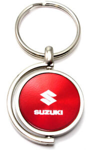 Red Suzuki Logo Brushed Metal Round Spinner Chrome Key Chain Spin Ring