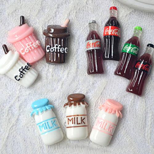 10pcs Milk Coffee Coke Resin Cabochon Flatback Cartoon DIY Craft Decoration