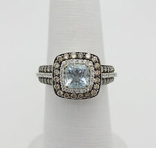 Zales LeVian Sea Blue Aquamarine & 3/4CT Chocolate Diamond Ring 14K Gold