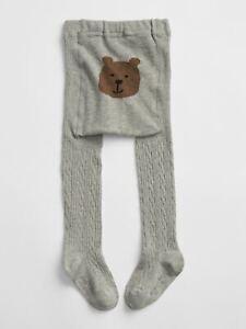 NWT $17 Baby GAP Girls Bear Graphic Cable Knit Gray Tights 12 24 mo 2 3 year