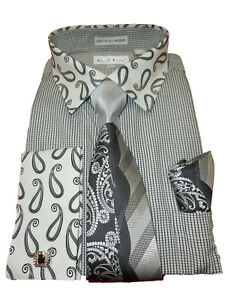 9371a742633 Mens Karl Knox Lovely Black White Paisley Cuff Collar Dress Shirt ...