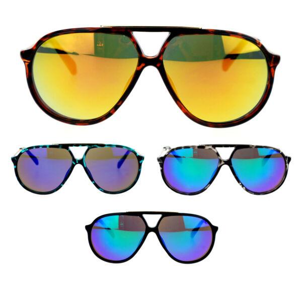 cbd2433362 Mens Retro Racer Thin Plastic Frame Color Mirror Lens Aviator Sunglasses