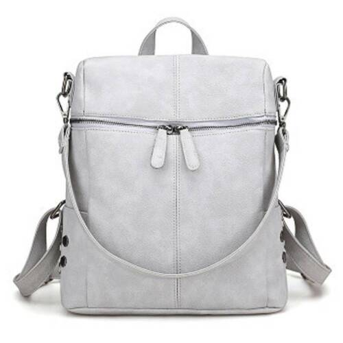 Damen Kunstleder Reise Tasche lässig einfarbig Handtasche Umhängetasche Rucksack