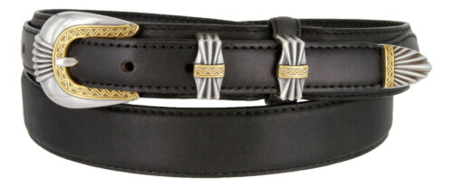 Sizes 32-50!! New Silver /& Gold Buckle Set Genuine Leather Western Ranger Belt