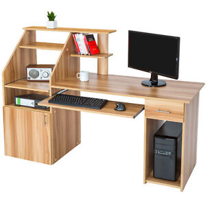 computertisch pc tisch arbeitstisch schublade schreibtisch b rom bel home office ebay. Black Bedroom Furniture Sets. Home Design Ideas