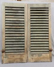 Pair Antique Window Wood Louvered Shutter Shabby Old Chic Vtg 36x15 363-17R