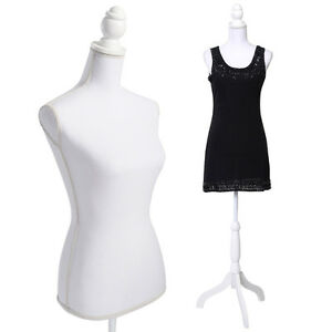 White Female Mannequin Torso Dress Form Display W/ WhiteTripod ...