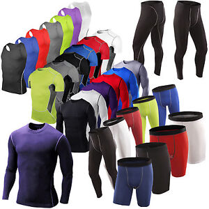 Mens Compression Base Layer Tank Tops Shirt Fitness Long Pants Short Sport Wear