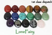 Genuine Gemstone 18 x 13 mm Oval Flat Back Cabochons Jewellery Beads Onyx Lapis
