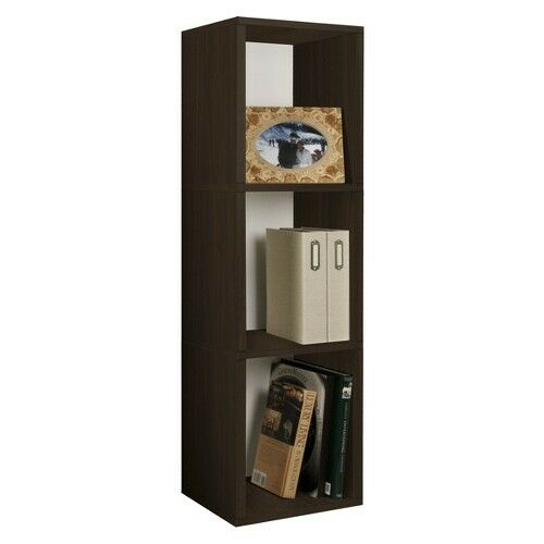 Way Basics Cube Plus Eco-Friendly Modern 3-Shelf Storage Unit, Espresso Wood ...