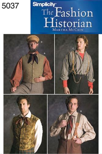 Gilet /& Chapeau Costume-Simplicity 5037 sewing pattern Men/'s Civil War jarretelles