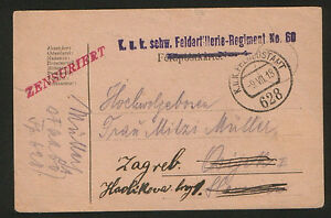 WWI-CROATIA-AUSTRIA-TRAVELD-CENSORSHIP-FELDPOST-POSTCARD-1918