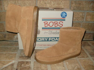New-Bobs-Earthwise-Posey-Leather-Ankle-Boot-Memory-Foam-Insole-Chestnut