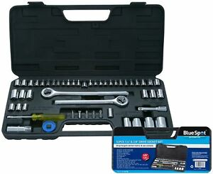 BlueSpot-52pc-Metrico-Imperial-Socket-Set-3-8-034-1-2-034-bits-de-Extension-de-Trinquete-de
