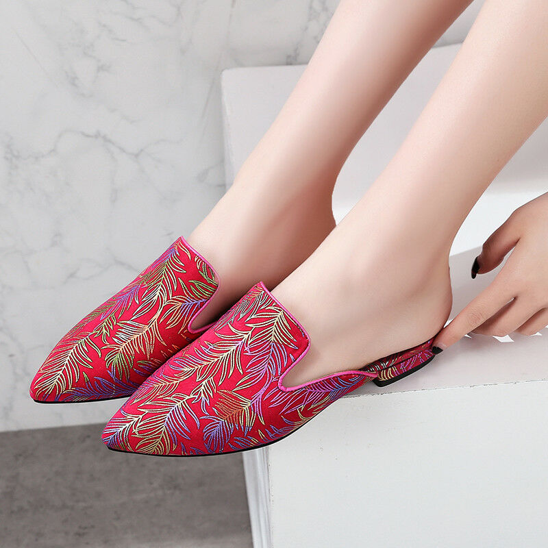 Donna Slip Chinese On Embroider Floral Slip Donna On Chinese Pointy Toe Oxfords   3f7960