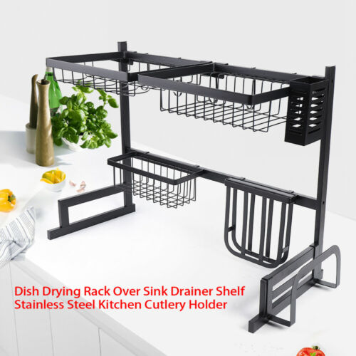 Stainless Steel Dish Drying Rack Over Sink Drainer Shelf Kitchen Cutlery Holder
