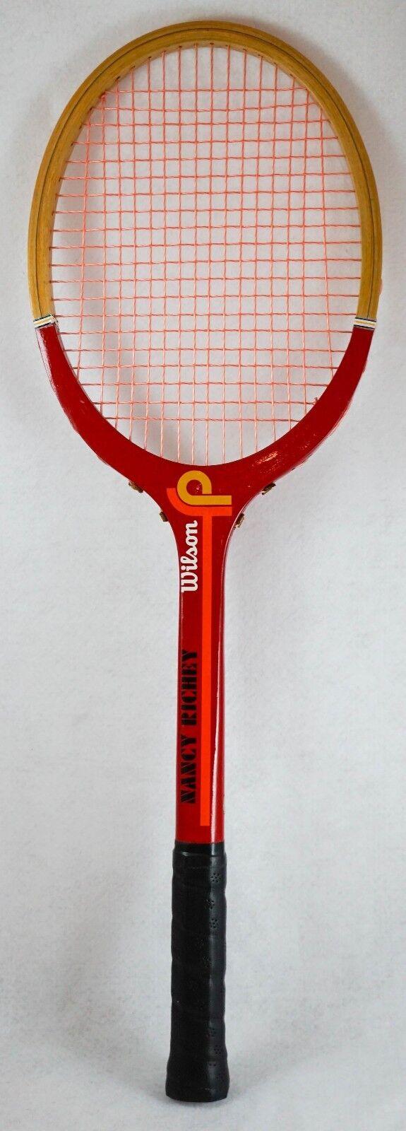 Vintage Wilson Nancy Richey madera tenis raqueta nuevo, sin usar 4 3 8 de agarre