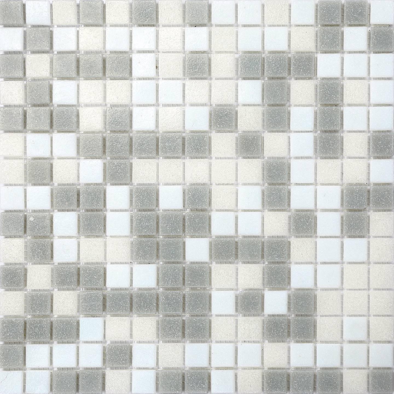 2 SQM grau & Weiß Random Mix Vitreous Glass Mosaic Tiles 327x327x4mm (MT0086)