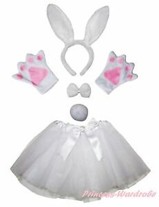 Easter-Party-Adult-Pure-White-Bunny-Rabbit-Headband-Paw-Tail-Bow-Skirt-Costume