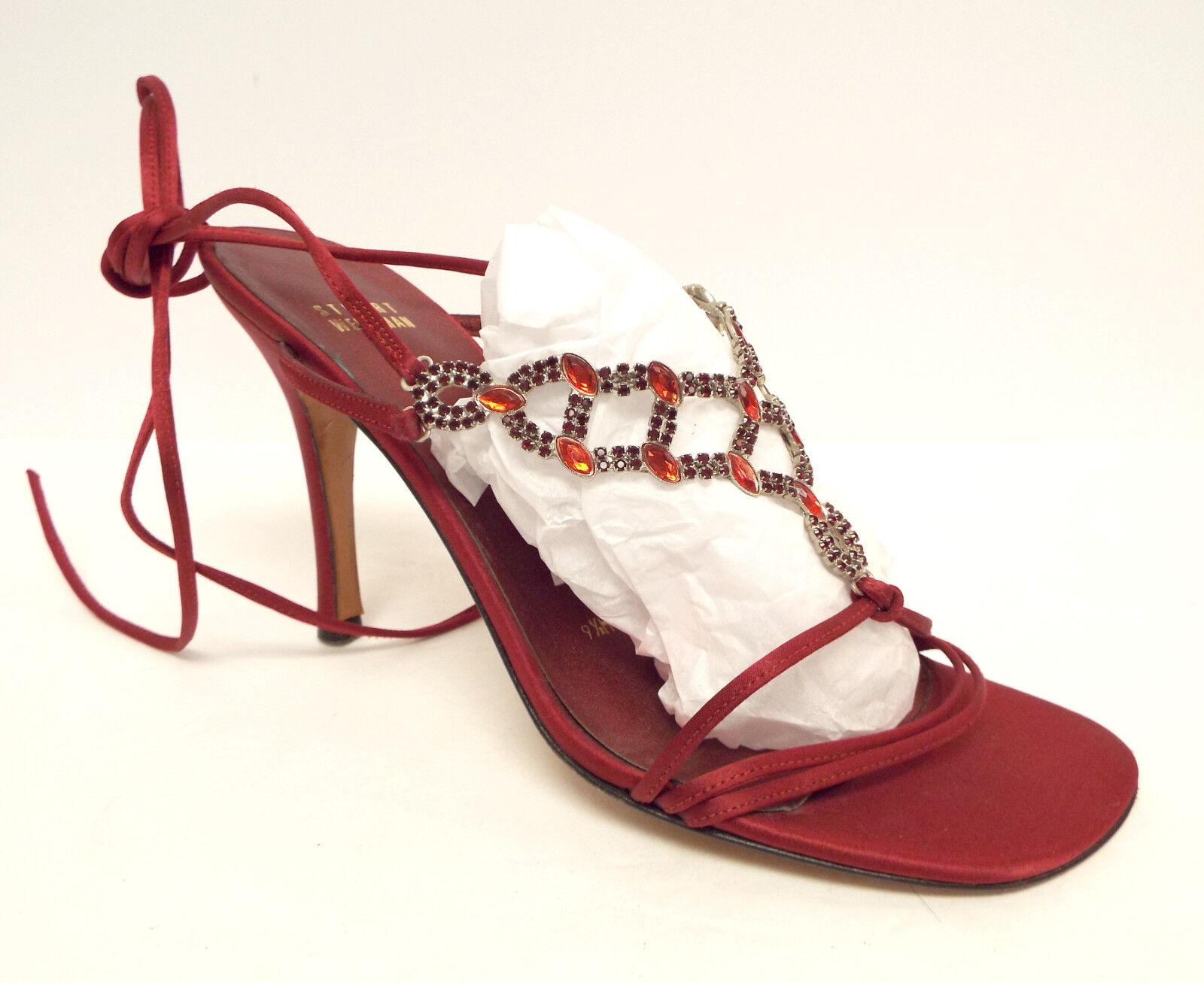 STUART WEITZMAN Size 9.5 Red Satin Jeweled Evening Heels Sandals Shoes 9 1/2