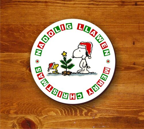 Nadolig Llawen snoopy and woodstock round coaster