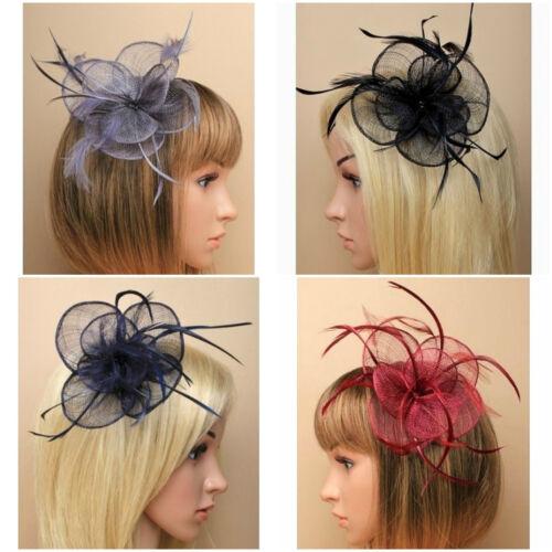 Ladies Circular Sinamay /& Feather Fascinator on Spring Clip// Pin