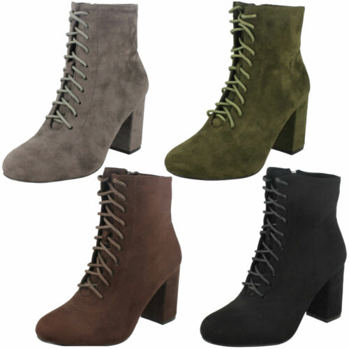 LADIES SPOT ON F50854 PLAIN MICROFIBRE SUEDE LACE UP ZIP HEELED HIGH ANKLE BOOTS