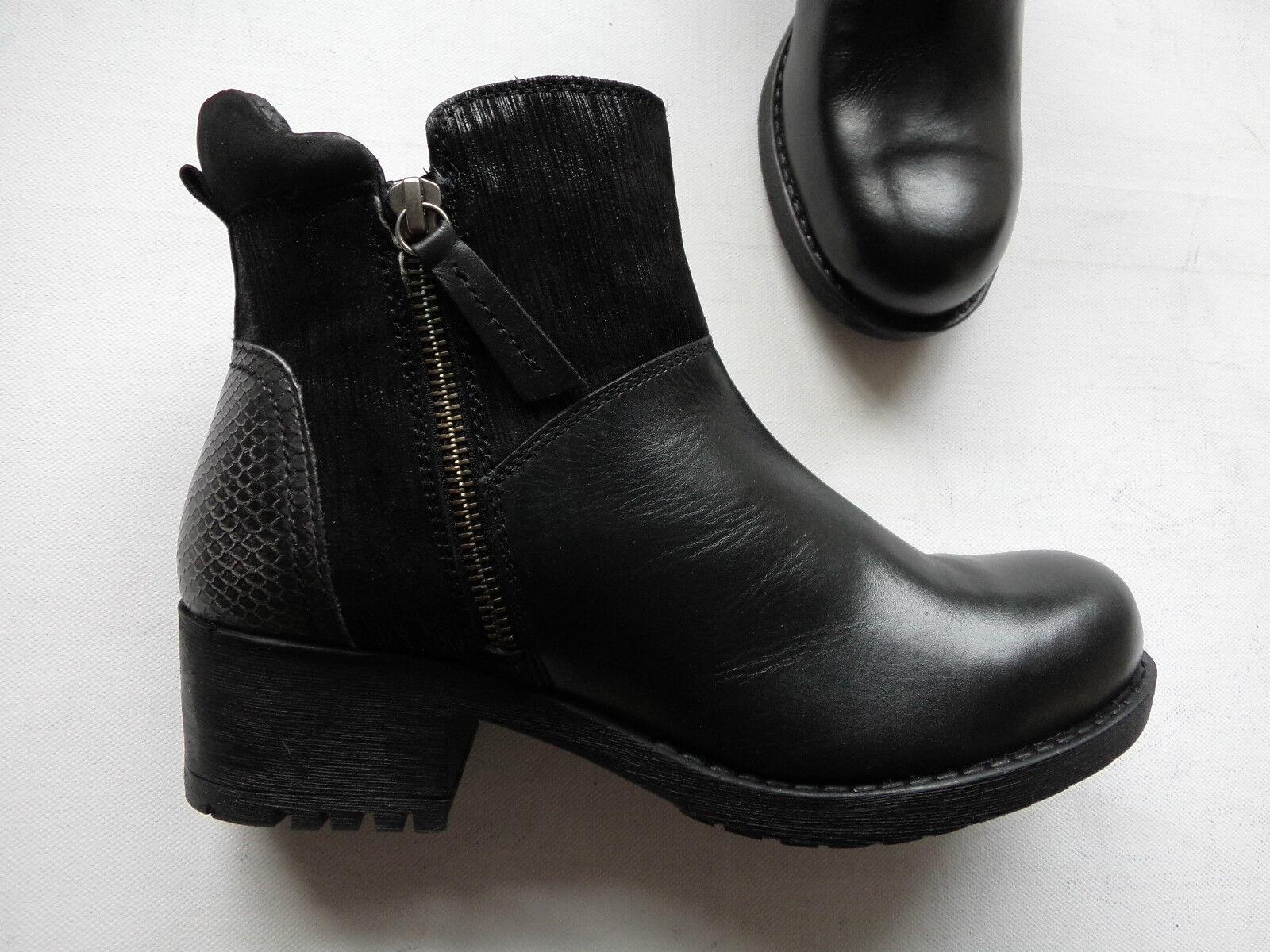 NEU noir Ankle bottes bottesette echt Leder mit Reißverschluss noir Gr.37-42